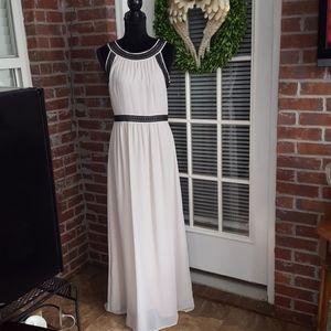 H&M cream long dress black lace sleeveless 10 EUC